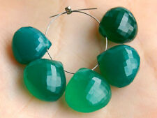 Green Onyx Faceted Heart Briolette Gemstone Beads 004