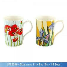 Set of 2 Stained Glass Flowers Fine China Mugs Gift Boxed Tea Coffee Wedding