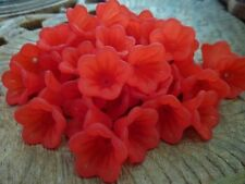 40 pcs Frosted Bell Flower Acrylic Beads Red 15mm x 10mm
