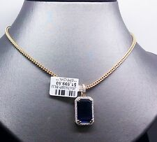"New 10K Yellow Gold Sapphire Charm/Pendant With 0.15CTDiamond & 26"" Franco Chain"