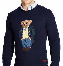 new Polo Ralph Lauren Preppy Teddy Bear intarsia-knit sweater navy mens XXL, NWT