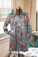 Betsey Johnson VINTAGE Coat PINK ROSE Floral Blue Rain RAINCOAT Jacket L Large