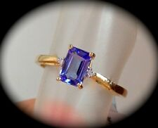 'CERTIFIED'WOW FAB COLOUR! OCTAGON CUT AA TANZANITE & DIAMOND 9K Y GOLD RING 'Q'