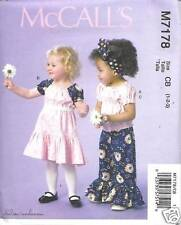M7178 TODDLERS/GIRLS GATHERED TOP, DRESS, PANTS SIZES 4-6 MCCALLS PATTERN 7178