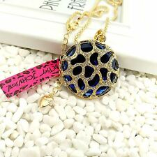 Betsey Johnson Crystal Round mirro sweater chain charm long necklace DD76