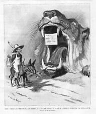 TAMMANY TIGER ATTEMPTING TO LURE IN WILLIAM JENNINGS BRYAN ON FREE SILVER DONKEY