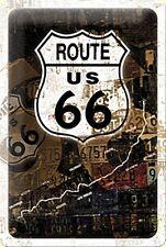 Plaque Publicitaire Métallique Collage Rouillée Route 66 (na 3020)