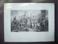 GRAVURE 1880  ENTREE DE HENRI IV DANS PARIS 1594