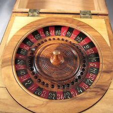 Traveling Pocket Roulette Wheel Wooden Box Veneer & Marquetry Cherubs Antique