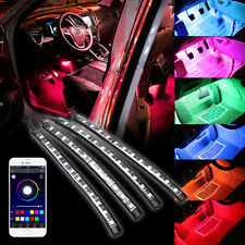 4x 12LED Car Interior Kit Atmosphere Wireless RGB Phone App Control Strip Lights