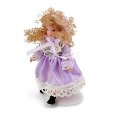 Dollhouse Miniature People Figure Porcelain Victorian Little Girl with Stand