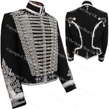 Black Silver Braid Hussars Tunic Doman Jacket
