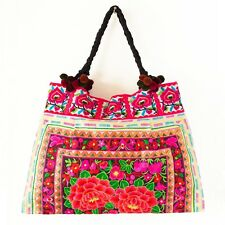 Roses Garden Hmong Bag Hill Tribe Tote Large Embroidered Fabric Bags Thai Boho