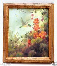 "Canvas Oil Painting ""Humming Bird & Flowers"" w/ Vintage Style Wood Frame 13x15"""