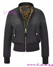 Womens MA1 LEOPARD Classic Padded Bomber Jacket Ladies Vintage Zip up Biker SIZE