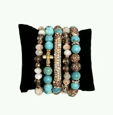 WOMAN TURQUOISE NUDE CROSS BEAD GOLD PAVE METAL BAR STRETCH STACK BRACELETS ROCK