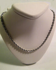 French Rope Chain 18 inch Bright Silver Rhodium Platinum Plated 3mm diamond-cut