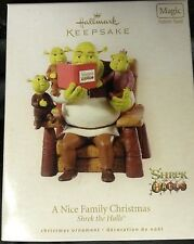NIB 2008 HALLMARK ORNAMENT A NICE FAMILY CHRISTMAS SHREK THE HALLS MAGIC SOUND