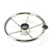 With Knob Boat Steering Wheel 5 Spoke 13-1/2 Inch Stainless 25 Degree Yacht