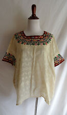 Vintage Mexican Boho Hippie Embroidered Poncho Festival Top Peasant Blouse Shirt