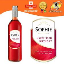 PERSONALISED ROSE GRENACHE WINE BOTTLE LABEL BIRTHDAY ANY OCCASION GIFT