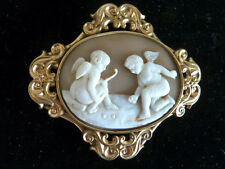 Carved Antique Cameo Cupids Angels Playing Marbles on Cloud Edwardian Brooch