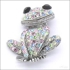 Pet Frog Froggy Animal Brooch Pin Jewelry Crystal Rhinestone Multi-color 3D Gift