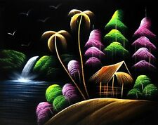 """Painting On Velvet Cloth Waterfall in a Village  19"""" X 16"""" Best Price Free Ship"""