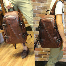 Fashion Brown Men Leather Backpack bags Briefcase rucksack laptop boy school bag