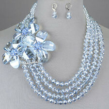 Clear Light Blue Bead Austrian Crystal Flowers Statement Necklace With Earrings