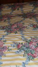 WAVERLY DUVET COVER QUEEN CABBAGE ROSES REVERSIBLE YELLOW STRIPE BEDDING