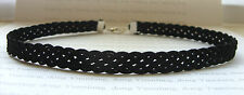 "A Black 10mm Plait Braid Silky Cord  13"" Choker Necklace, Gothic Tattoo Collar"