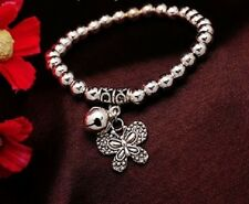 SILVER PLATED BALL BEAD, JINGLE BELL BUTTERFLY CHARM BRACELET