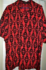 Dragonfly Mens Short Sleeve Camp Shirt Red Black Tribal Tattoo Print Button XL
