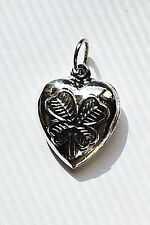 .925 Sterling Puffy Puffed Heart Charm Four Leaf Clover Good Luck