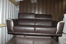 ITALIAN NATUZZI RAPHAEL 2 SEATER SOFA IN BROWN FULL LEATHER