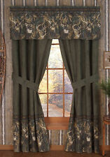 BROWNING WHITETAILS WINDOW CURTAINS - DRAPES, CAMO BEDROOM, BUCK, DEER