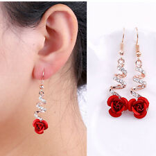 Fashion Womens Crystal Red Rose Flower Dangle Drop Earrings Jewelry Gift