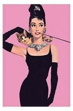 Audrey Hepburn POSTER 60x90cm NEW black dress cat pink vintage-look