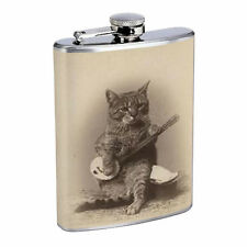 Vintage Cat Hip Flask D13 8oz Stainless Steel Collectible Old Fashioned Image