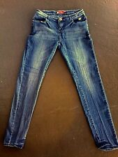 APPLE BOTTOM Distressed SKINNY LEG Apple Pocket Denim JEANS Sz 7/8