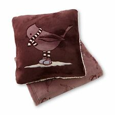 Cannon Winter Bird Print Microplush Pillow & Throw Gift Set Burgundy Red #2143