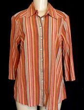 COLDWATER CREEK CWC 1X Shirt Multi Stripe Cotton MUSLIN 3/4 Slv Button Up Blouse