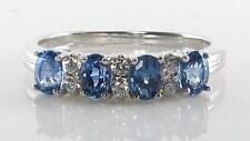 QUALITY 9CT  WHITE GOLD CEYLON SAPPHIRE & DIAMOND ETERNITY RING FREE RESIZE