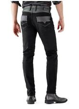 $158 Guess Slim Tapered Moto Black Jeans In Smokescreen 2 Wash Size 32