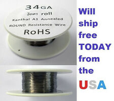 Kanthal 34 AWG 0.16002mm A-1 Wire 100ft Roll (30 meters) 21.1 Ohms/ft Resistance