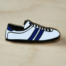 WHITE & BLUE ENAMEL TRAINER STYLE BADGE - FOOTBALL & RUGBY - WEST BROM COLOURS