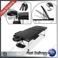 Portable 75cm Wide Folding 3 Fold Aluminium Massage Table Chair Bed Black