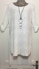 NEW ITALIAN LAGENLOOK CROCHET HIGH LOW HEM TUNIC TOP WHITE FIT 12 14 16 18 C233