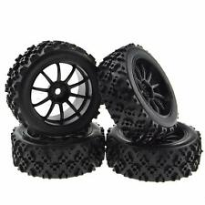4x RC Wheel Rim Tires Crossing Rubber Tyre for HSP 1/16 Off Road Scale Car Black